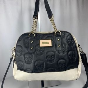 BETSEY JOHNSON Classy Skull Quilted Leather Purse